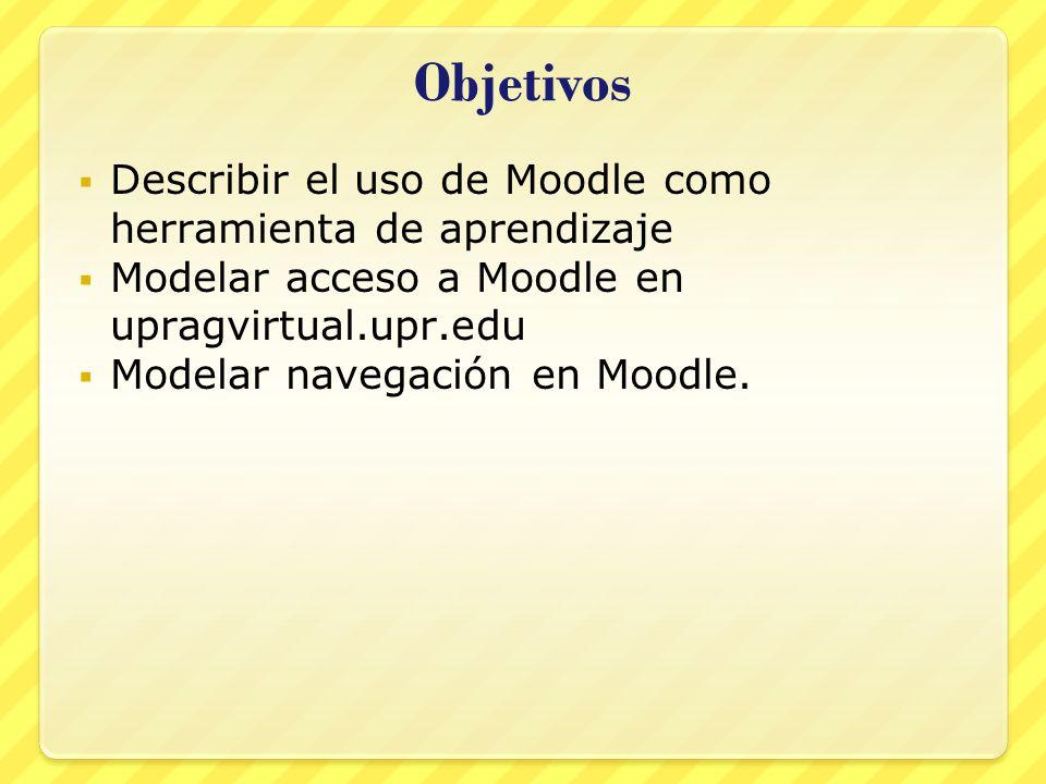 Objetivos Describir el uso de Moodle como herramienta de aprendizaje