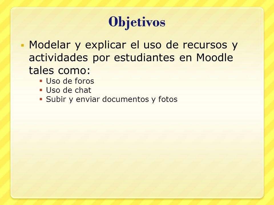 Objetivos Modelar y explicar el uso de recursos y actividades por estudiantes en Moodle tales como: