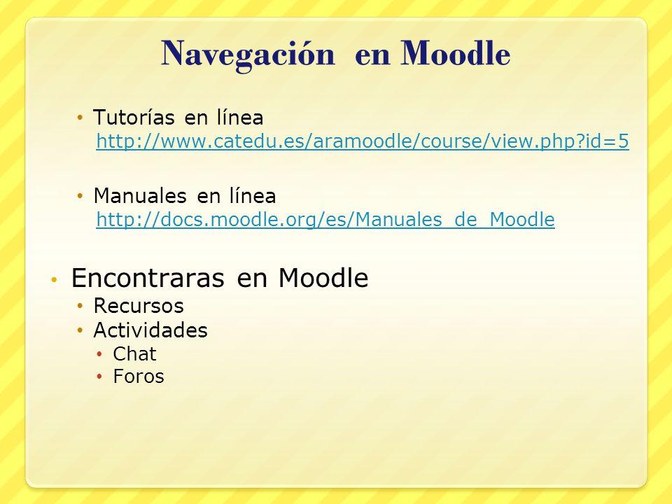 Navegación en Moodle Encontraras en Moodle Tutorías en línea