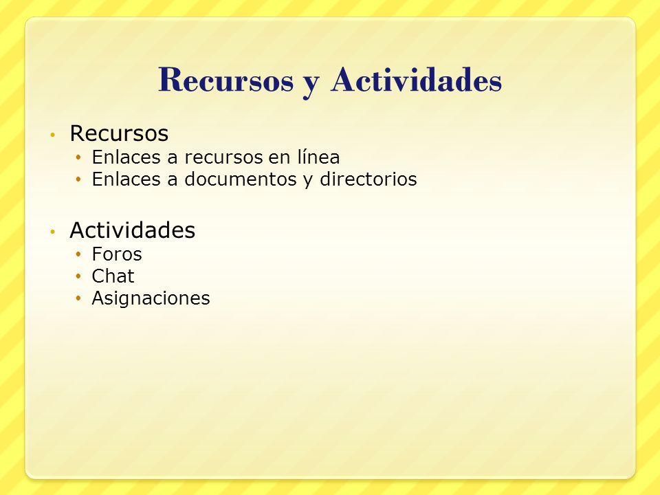 Recursos y Actividades
