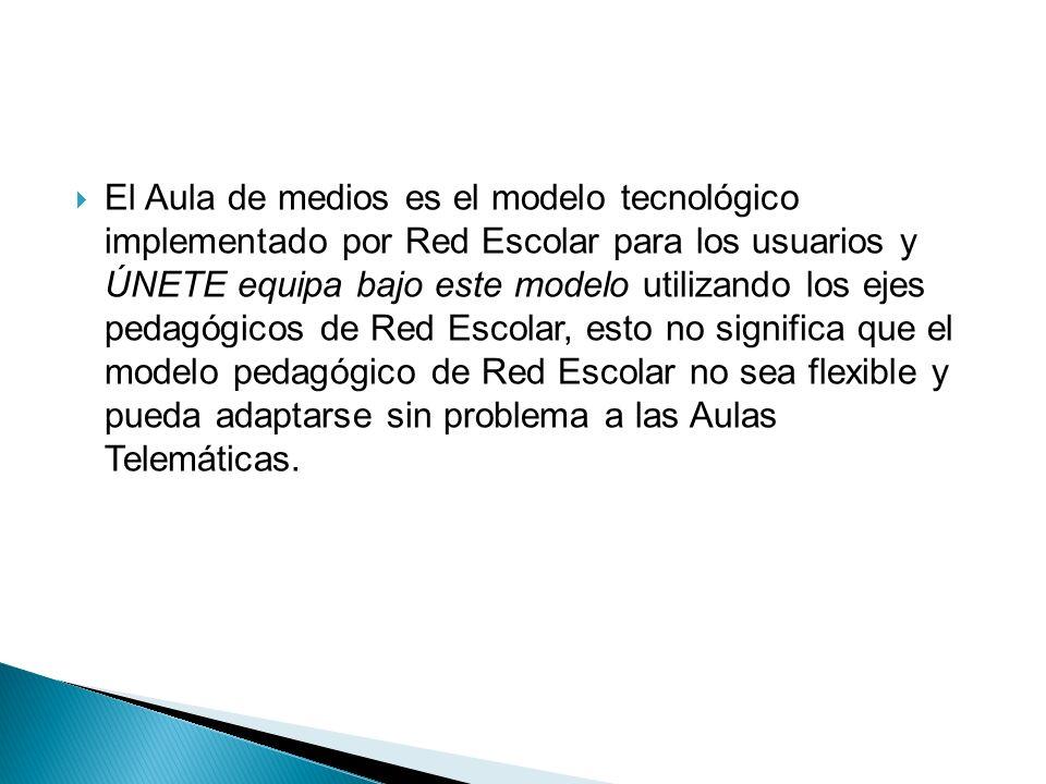 El Aula de medios es el modelo tecnológico implementado por Red Escolar para los usuarios y ÚNETE equipa bajo este modelo utilizando los ejes pedagógicos de Red Escolar, esto no significa que el modelo pedagógico de Red Escolar no sea flexible y pueda adaptarse sin problema a las Aulas Telemáticas.