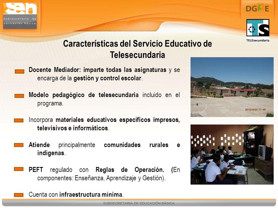 Características del Servicio Educativo de Telesecundaria