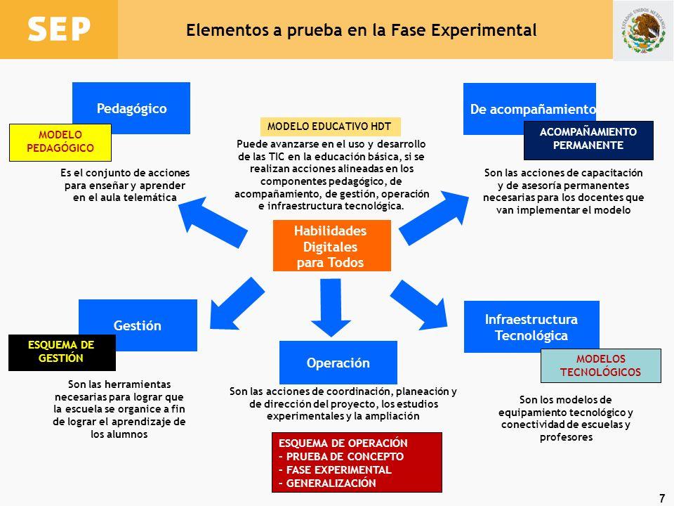 Elementos a prueba en la Fase Experimental