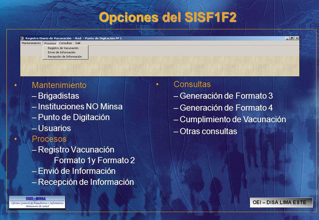 Opciones del SISF1F2 Consultas Mantenimiento Generación de Formato 3