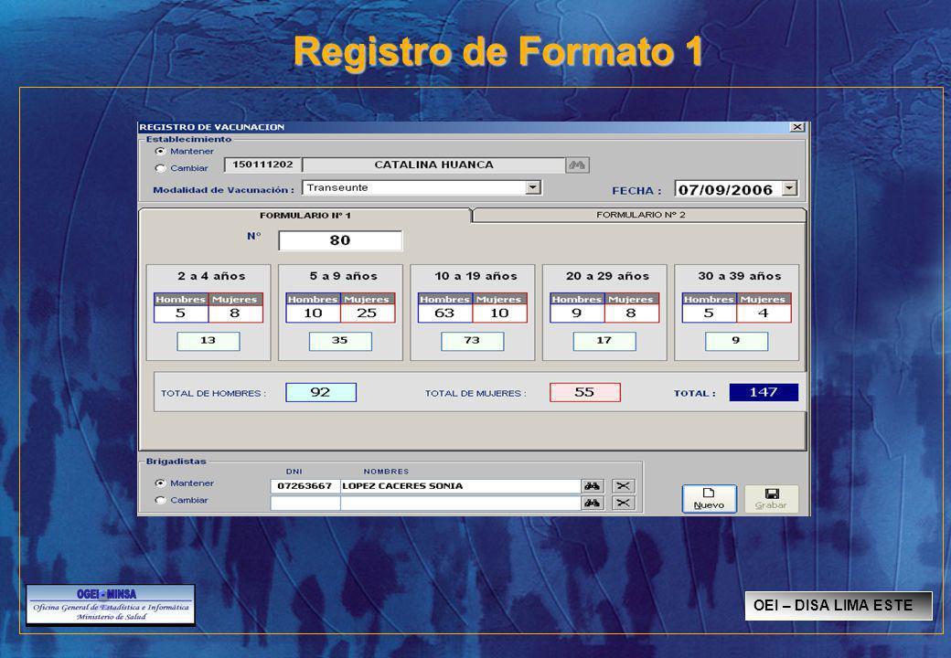 Registro de Formato 1 OEI – DISA LIMA ESTE SISMED