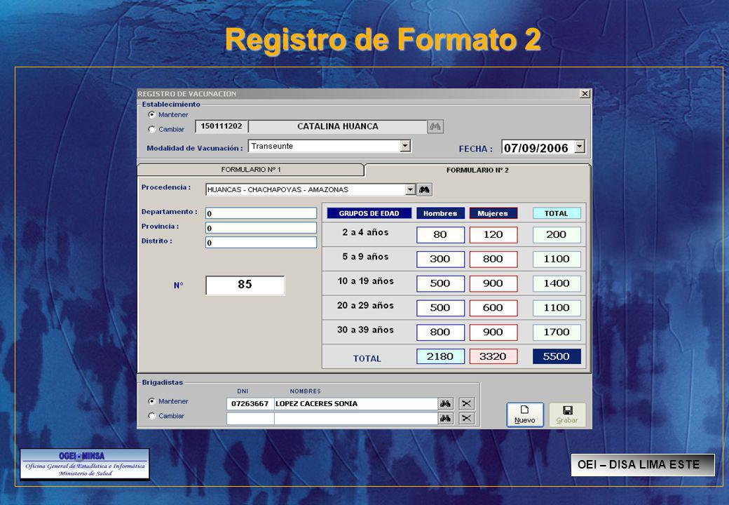 Registro de Formato 2 OEI – DISA LIMA ESTE SISMED