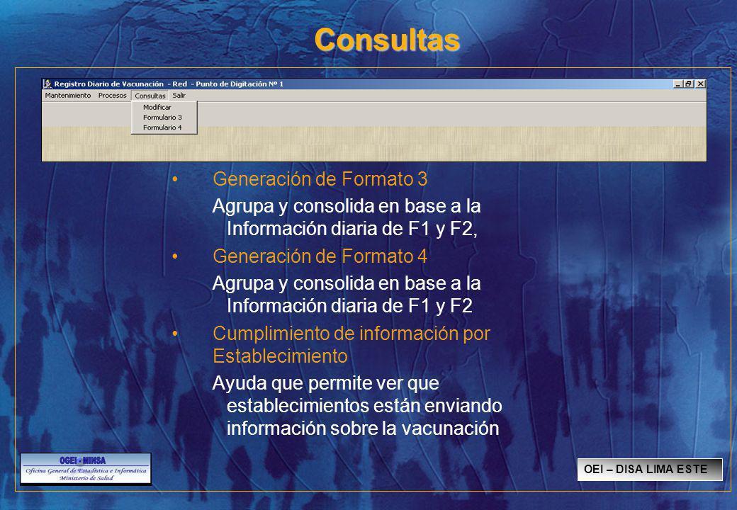 Consultas Generación de Formato 3