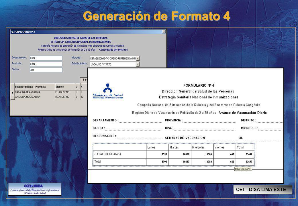 Generación de Formato 4 OEI – DISA LIMA ESTE SISMED