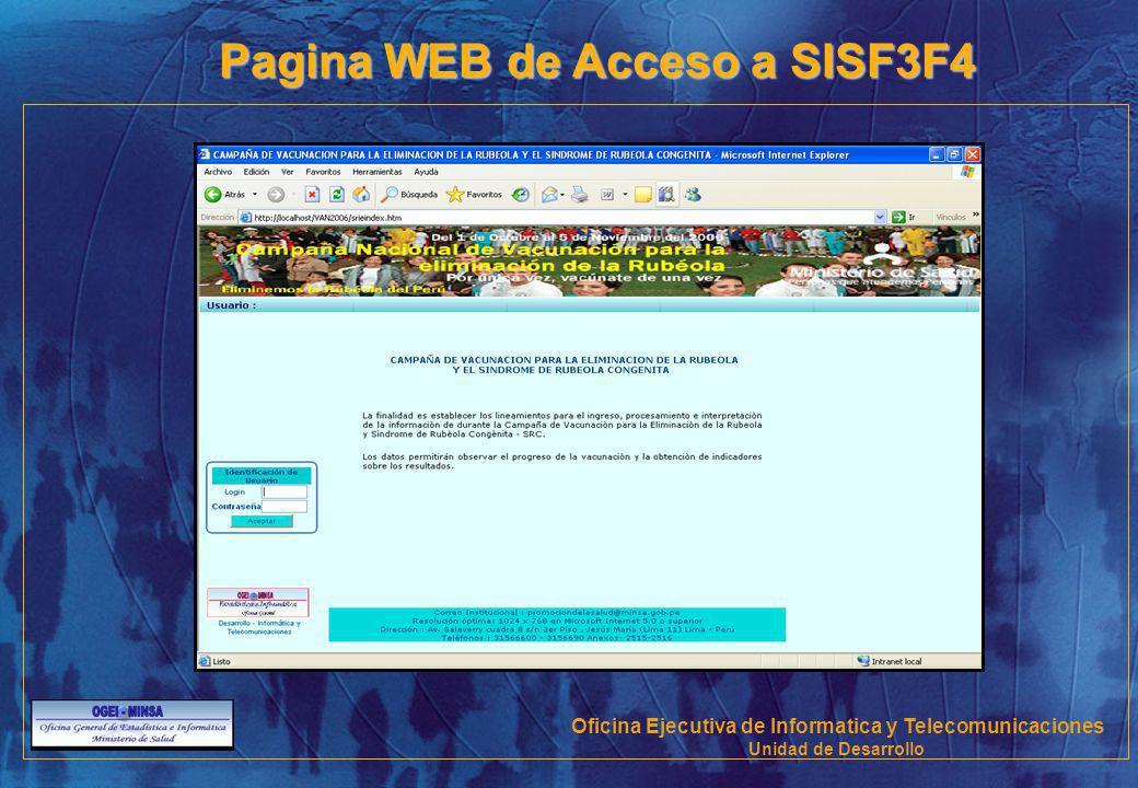 Pagina WEB de Acceso a SISF3F4