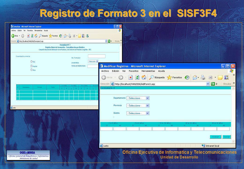 Registro de Formato 3 en el SISF3F4