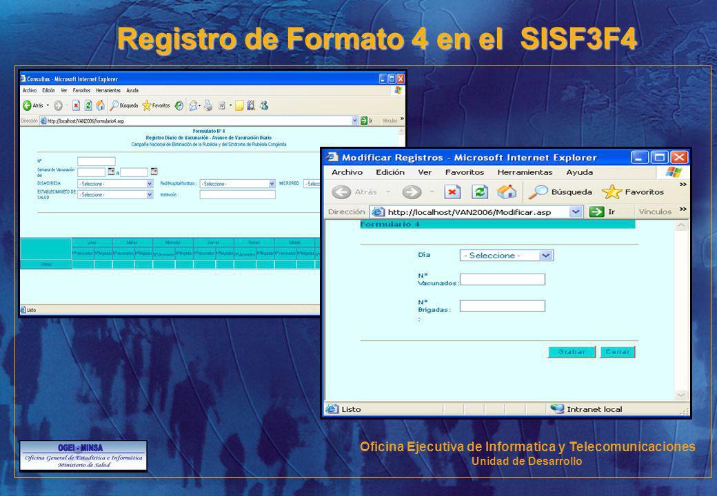 Registro de Formato 4 en el SISF3F4