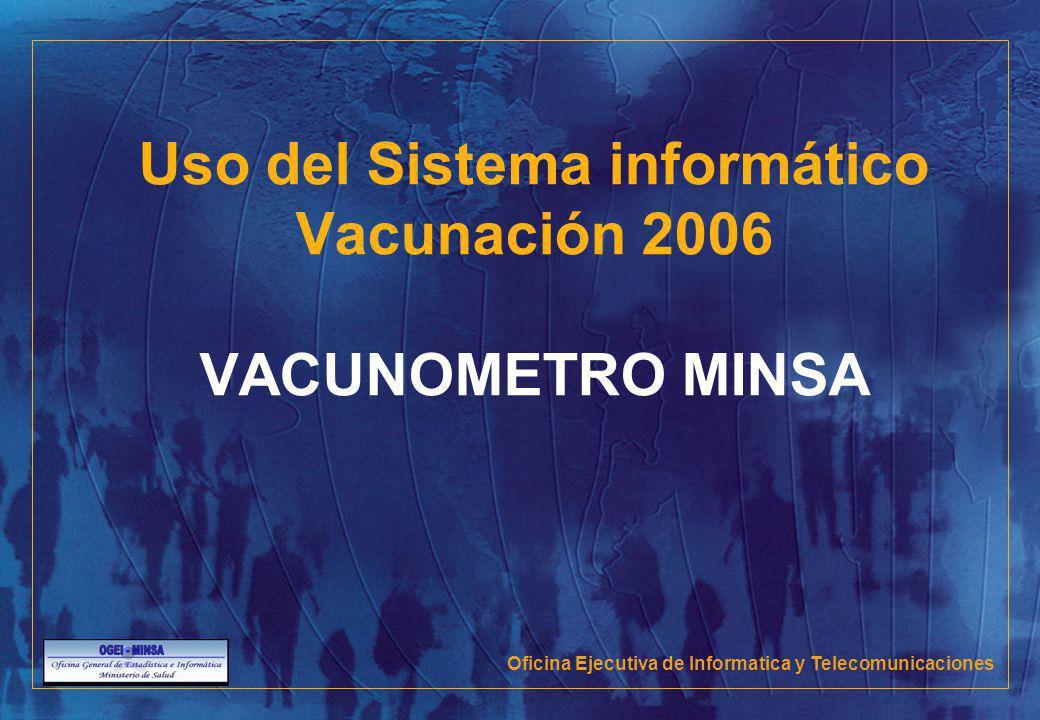 Uso del Sistema informático Vacunación 2006 VACUNOMETRO MINSA