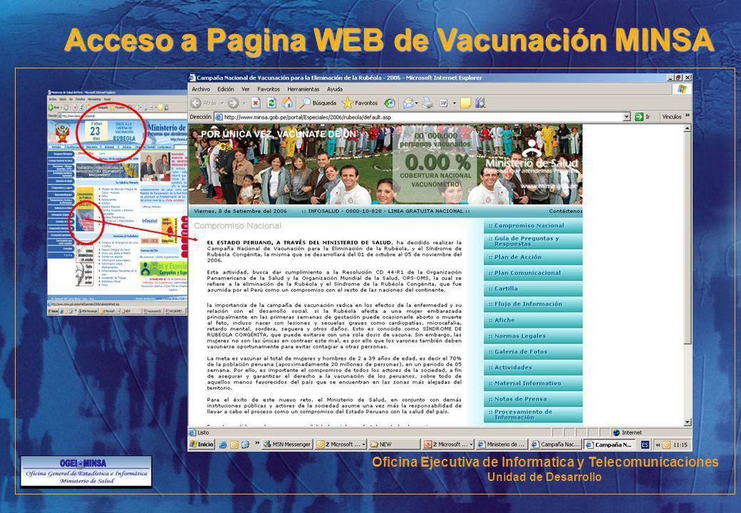 Acceso a Pagina WEB de Vacunación MINSA