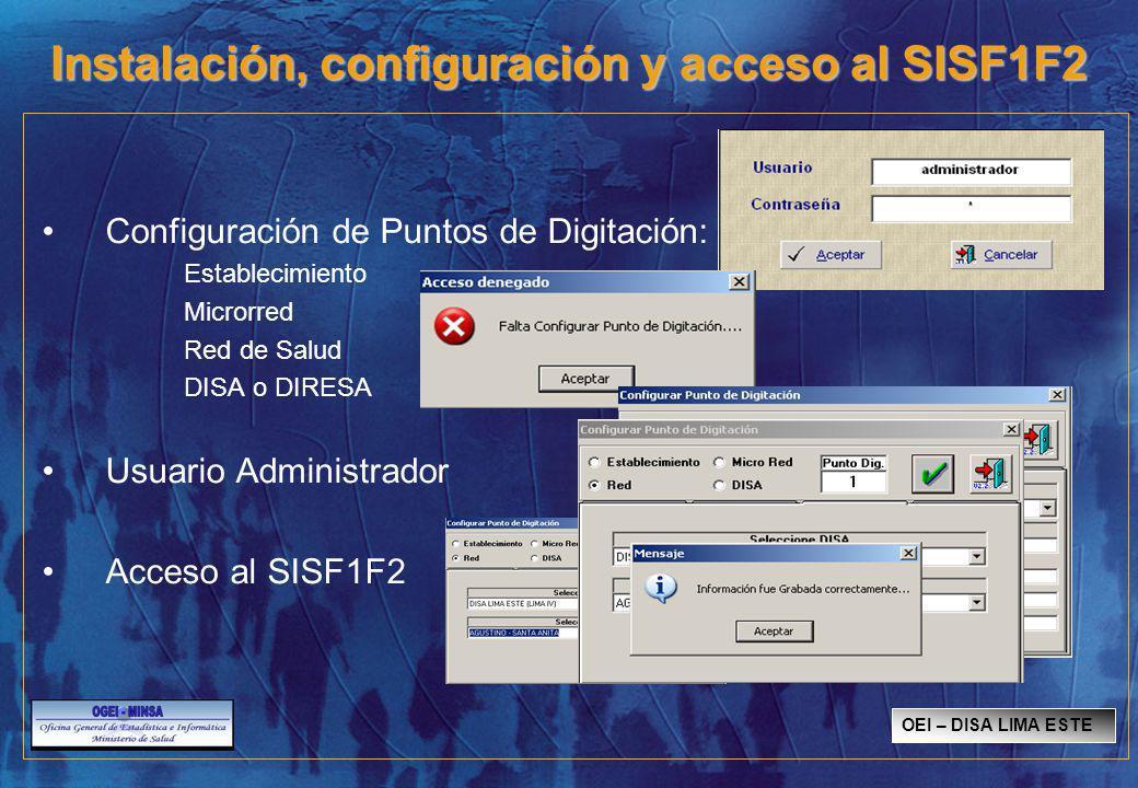 Instalación, configuración y acceso al SISF1F2