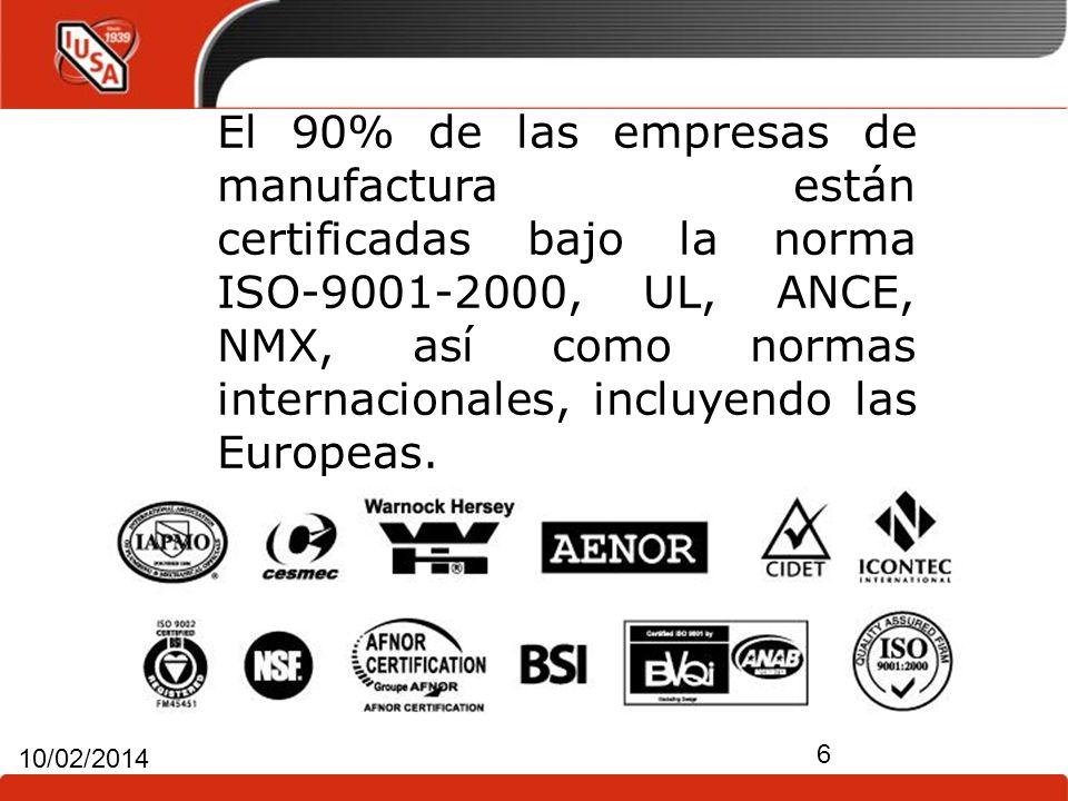 El 90% de las empresas de manufactura están certificadas bajo la norma ISO-9001-2000, UL, ANCE, NMX, así como normas internacionales, incluyendo las Europeas.