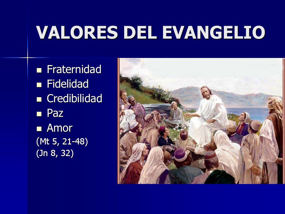 VALORES DEL EVANGELIO Fraternidad Fidelidad Credibilidad Paz Amor
