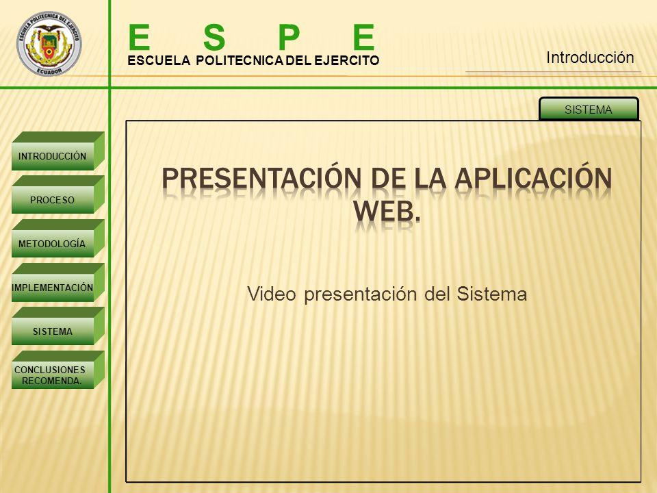 E S P E PRESENTACIÓN DE LA APLICACIÓN WEB.