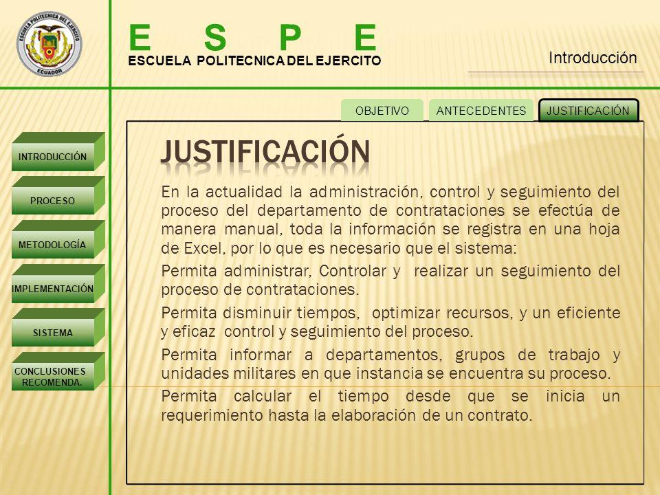 E S P E Introducción. ESCUELA POLITECNICA DEL EJERCITO. OBJETIVO. ANTECEDENTES. JUSTIFICACIÓN.