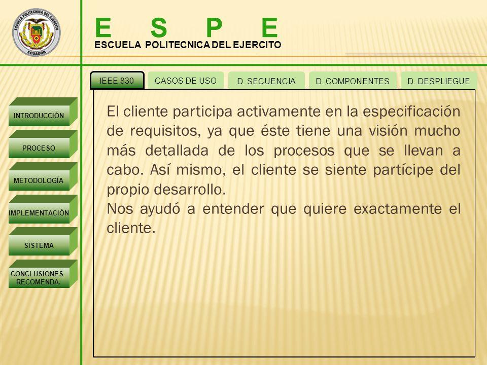 E S P E ESCUELA POLITECNICA DEL EJERCITO. IEEE 830. CASOS DE USO. D. SECUENCIA. D. COMPONENTES.
