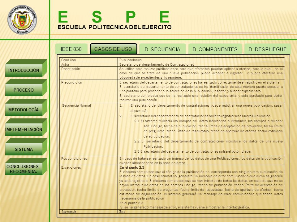 E S P E ESCUELA POLITECNICA DEL EJERCITO IEEE 830 CASOS DE USO