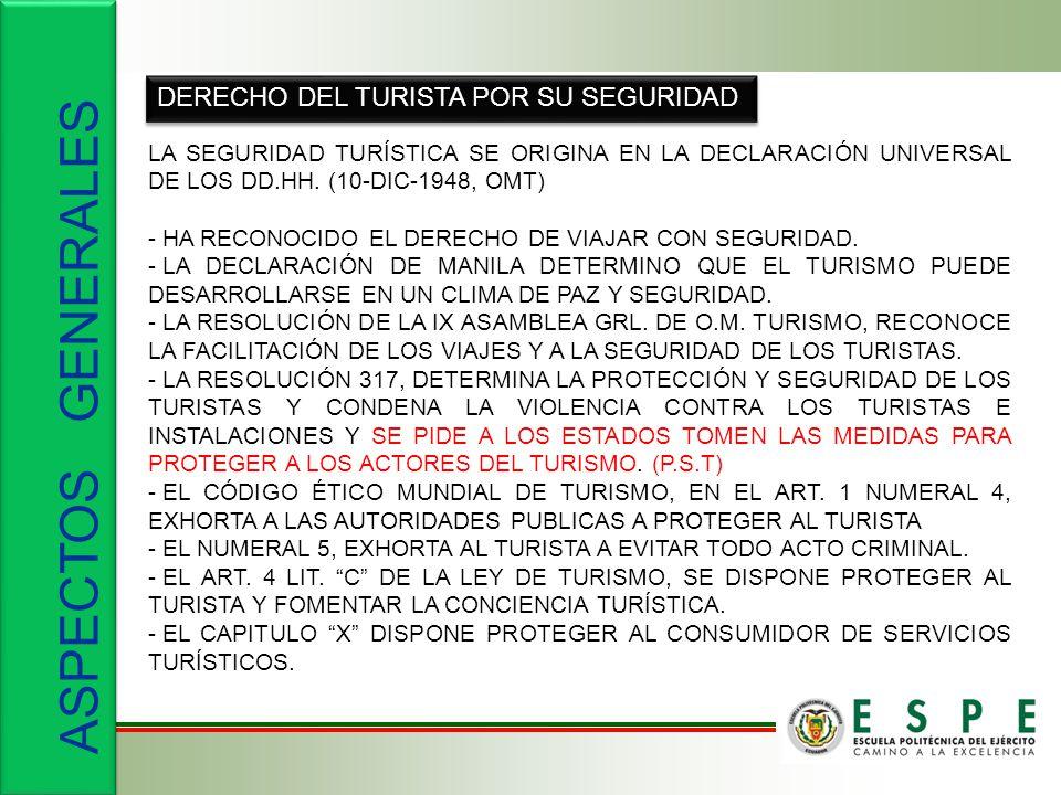 ASPECTOS GENERALES DERECHO DEL TURISTA POR SU SEGURIDAD