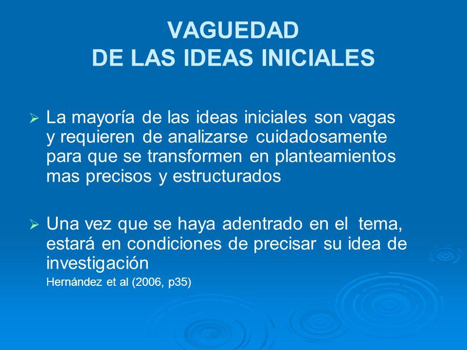 VAGUEDAD DE LAS IDEAS INICIALES