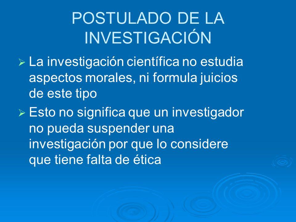 POSTULADO DE LA INVESTIGACIÓN
