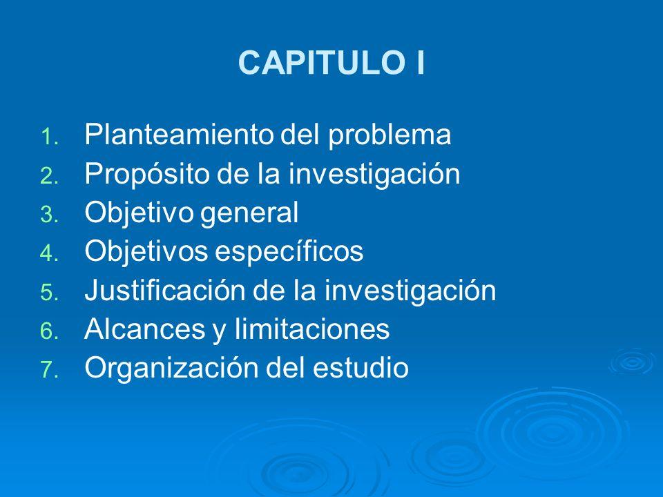 CAPITULO I Planteamiento del problema Propósito de la investigación