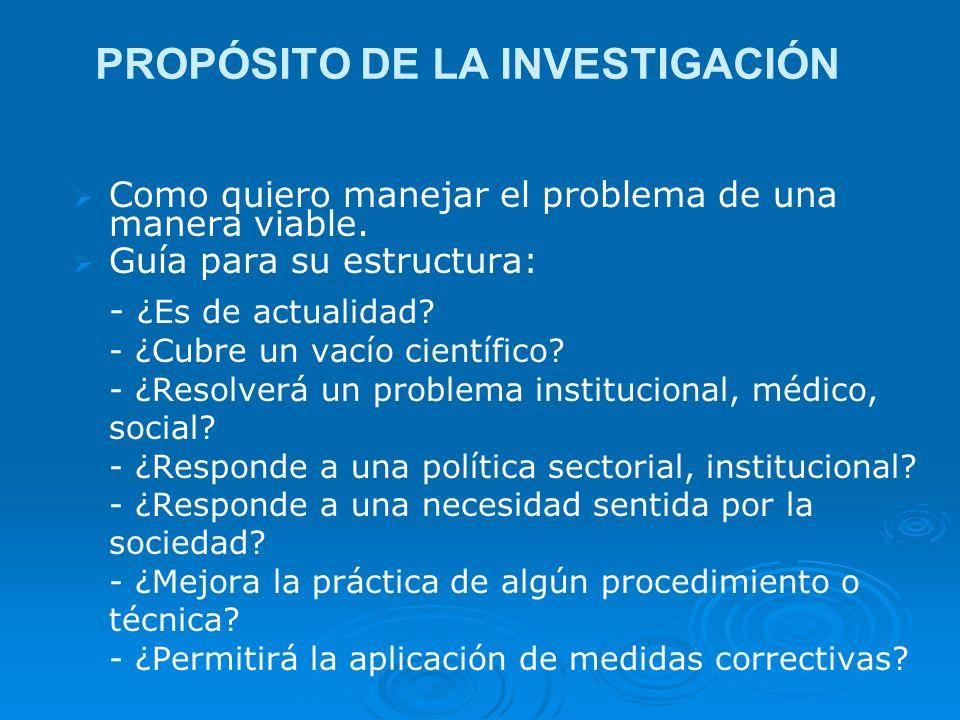 PROPÓSITO DE LA INVESTIGACIÓN