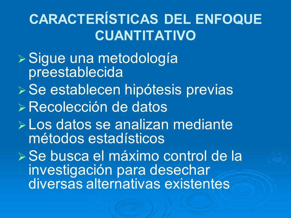 CARACTERÍSTICAS DEL ENFOQUE CUANTITATIVO