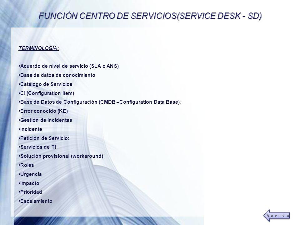 FUNCIÓN CENTRO DE SERVICIOS(SERVICE DESK - SD)