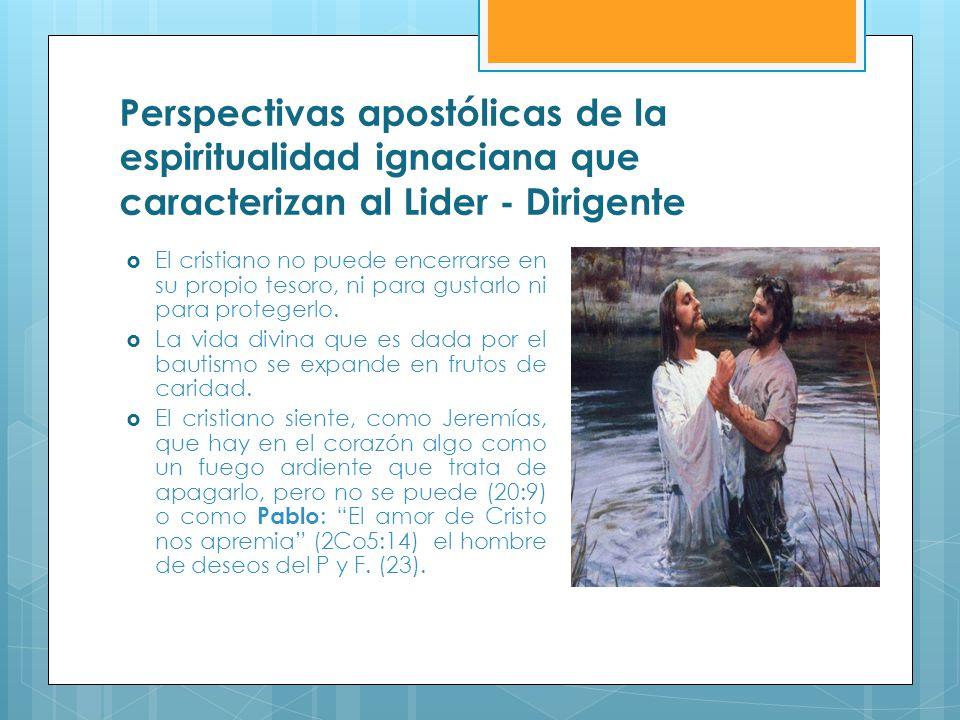 Perspectivas apostólicas de la espiritualidad ignaciana que caracterizan al Lider - Dirigente