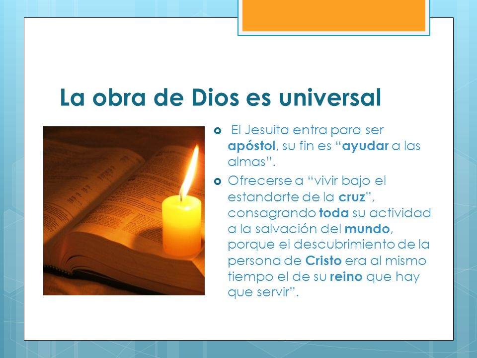 La obra de Dios es universal