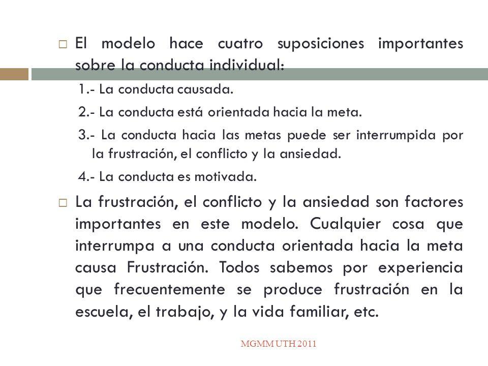 El modelo hace cuatro suposiciones importantes sobre la conducta individual: