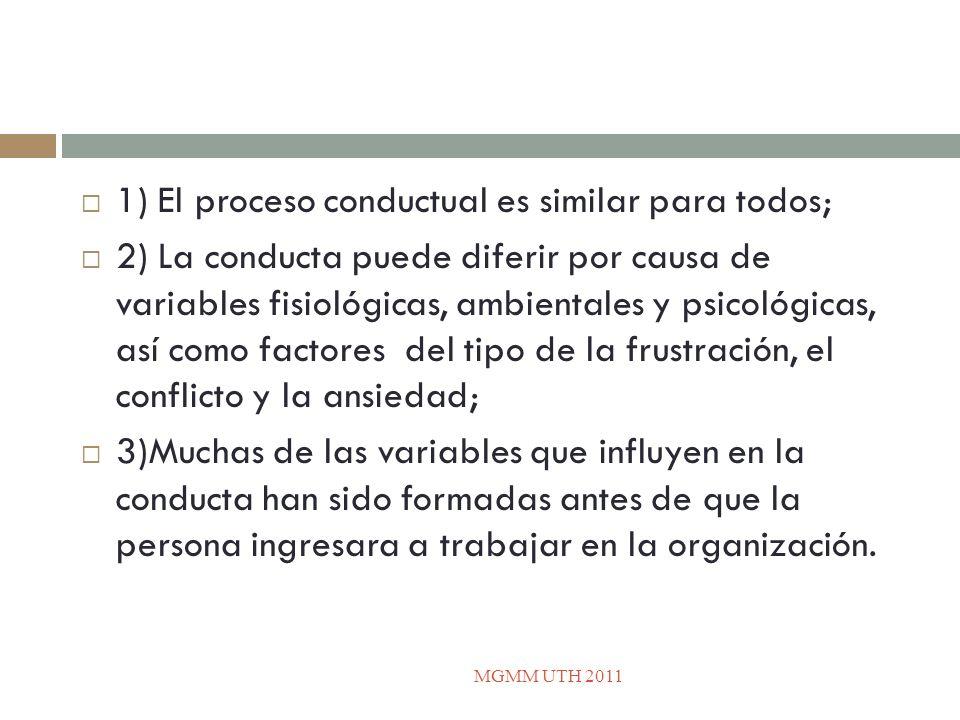 1) El proceso conductual es similar para todos;