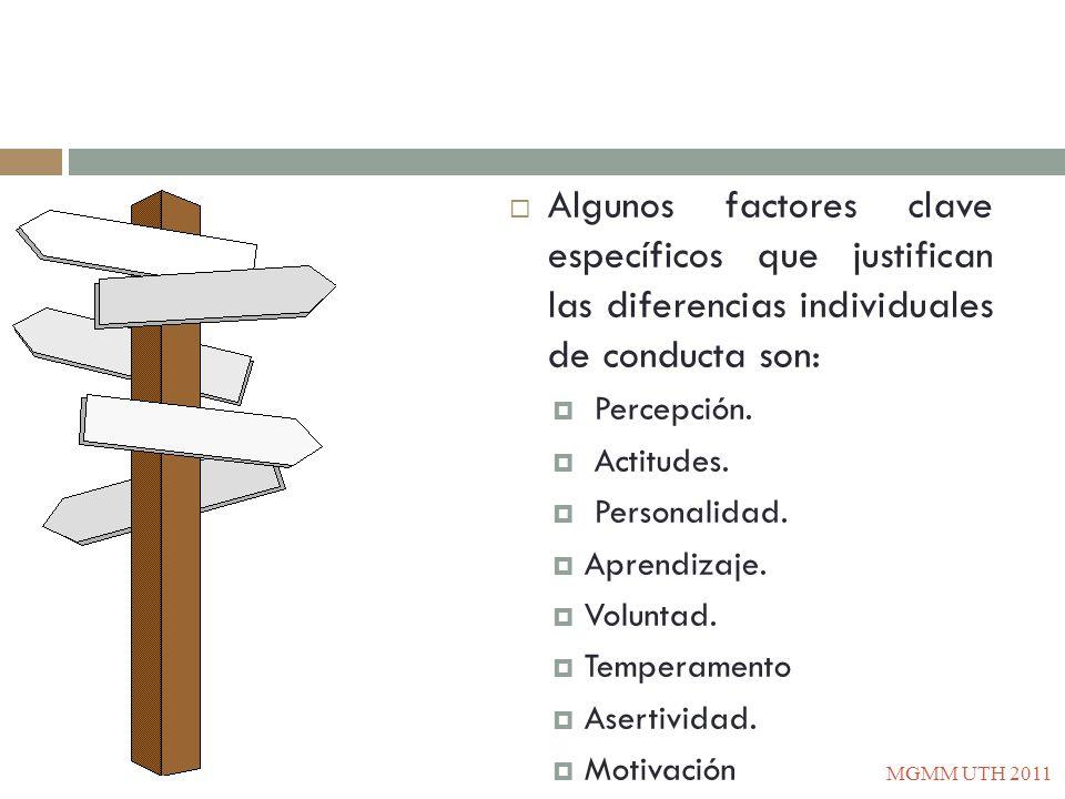 Algunos factores clave específicos que justifican las diferencias individuales de conducta son: