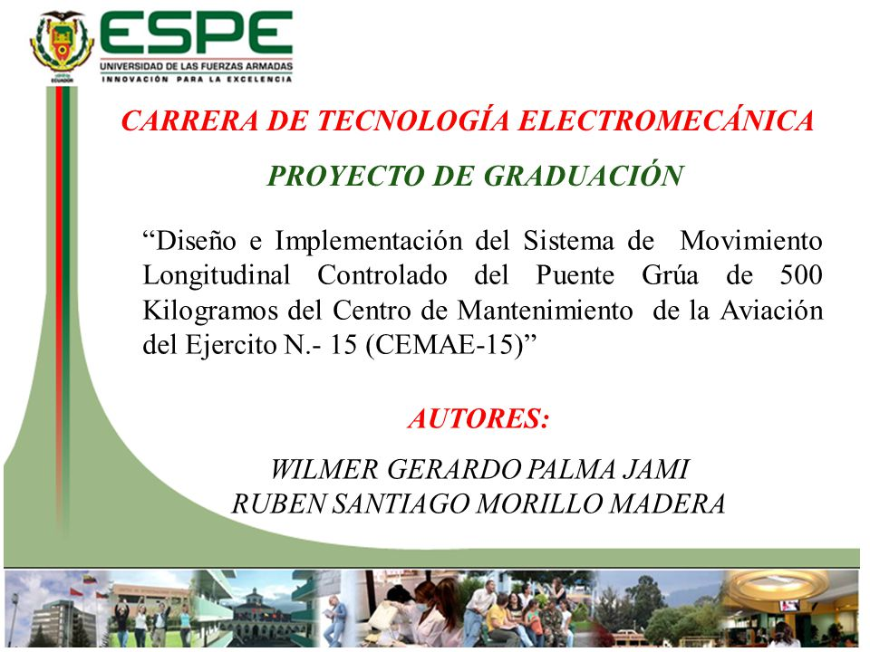 CARRERA DE TECNOLOGÍA ELECTROMECÁNICA PROYECTO DE GRADUACIÓN