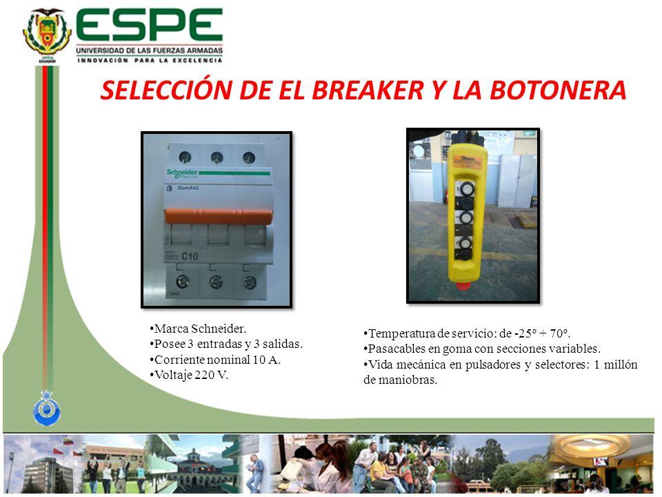 SELECCIÓN DE EL BREAKER Y LA BOTONERA