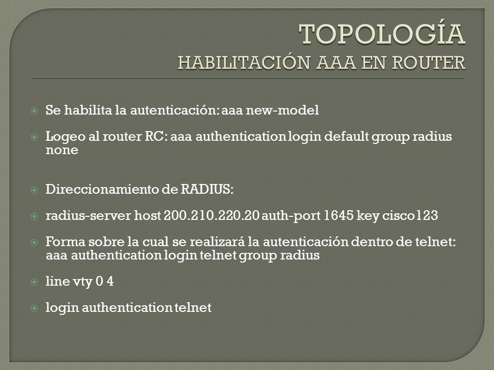 TOPOLOGÍA HABILITACIÓN AAA EN ROUTER
