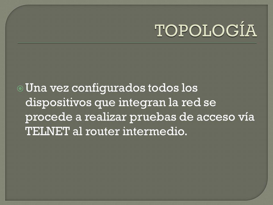 TOPOLOGÍA Una vez configurados todos los dispositivos que integran la red se procede a realizar pruebas de acceso vía TELNET al router intermedio.