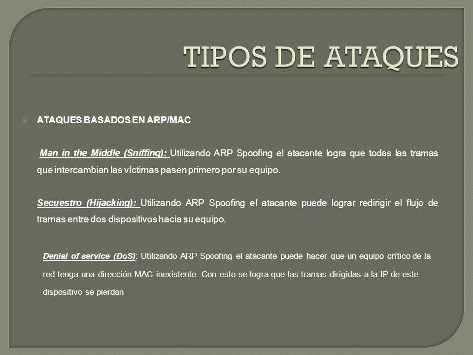 TIPOS DE ATAQUES ATAQUES BASADOS EN ARP/MAC