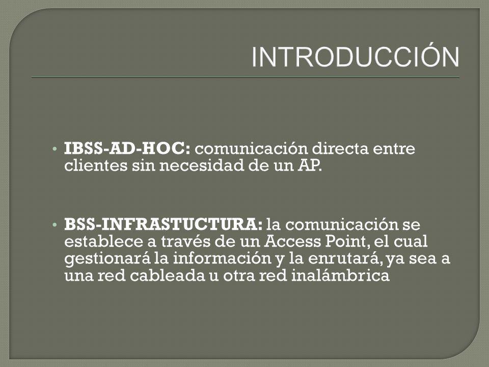 INTRODUCCIÓN IBSS-AD-HOC: comunicación directa entre clientes sin necesidad de un AP.