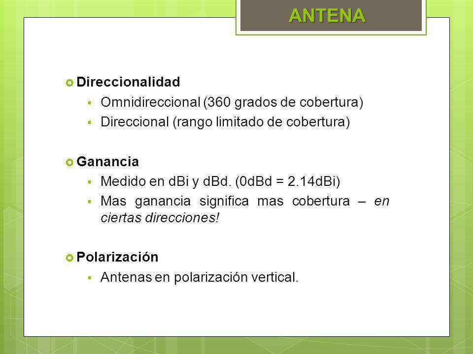 ANTENA Direccionalidad Omnidireccional (360 grados de cobertura)