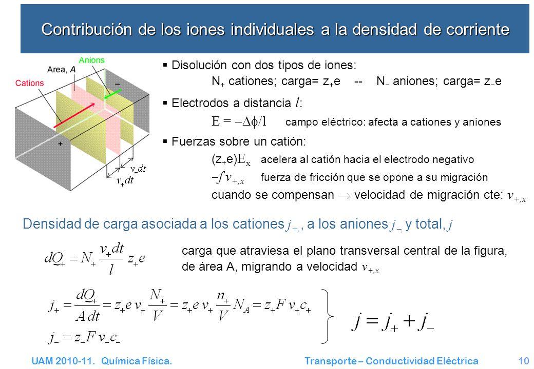 Contribución de los iones individuales a la densidad de corriente
