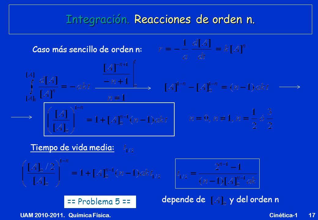 Integración. Reacciones de orden n.