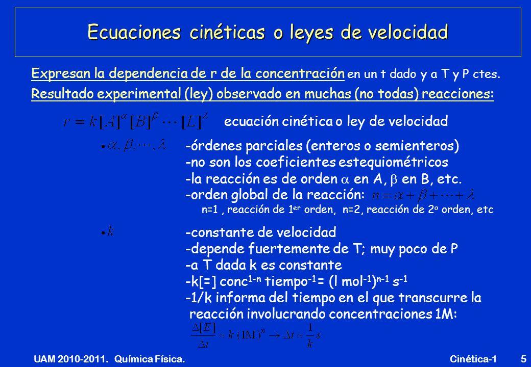 Ecuaciones cinéticas o leyes de velocidad