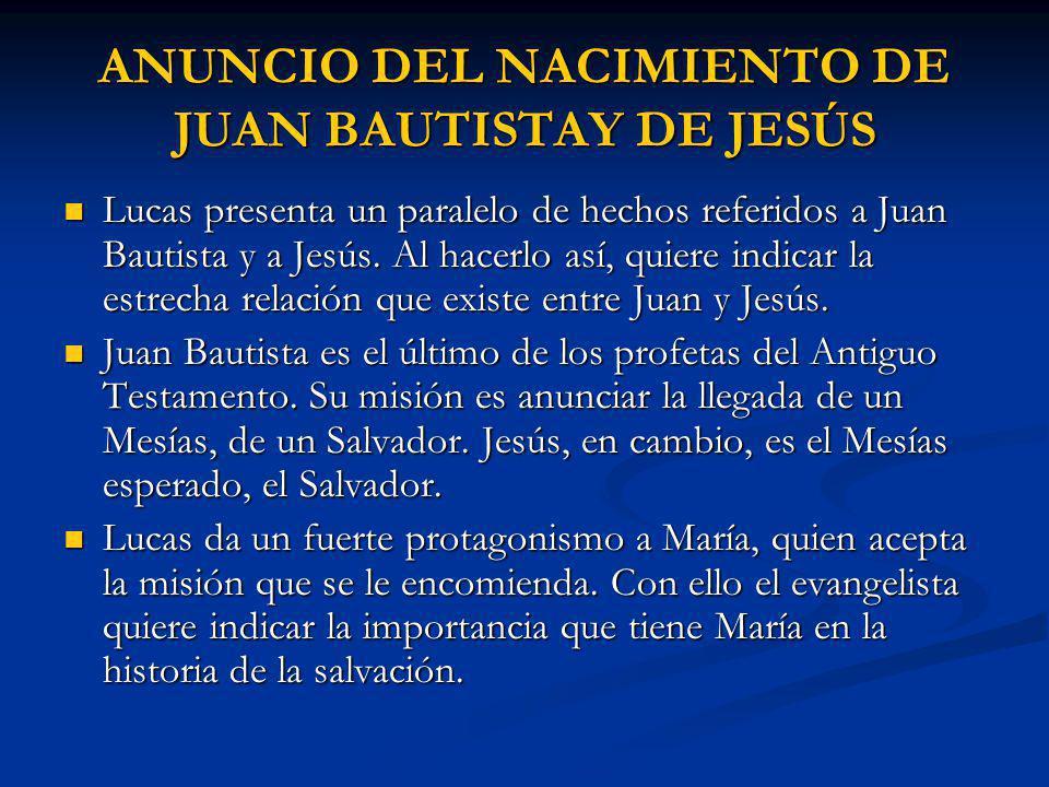 ANUNCIO DEL NACIMIENTO DE JUAN BAUTISTAY DE JESÚS