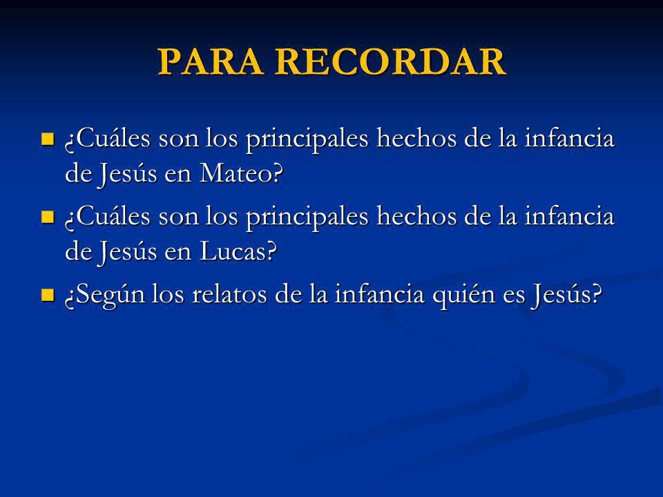 PARA RECORDAR ¿Cuáles son los principales hechos de la infancia de Jesús en Mateo