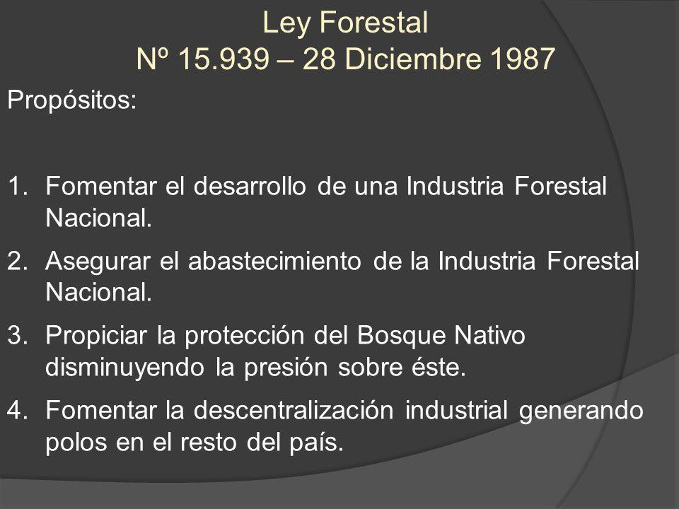 Ley Forestal Nº 15.939 – 28 Diciembre 1987 Propósitos: