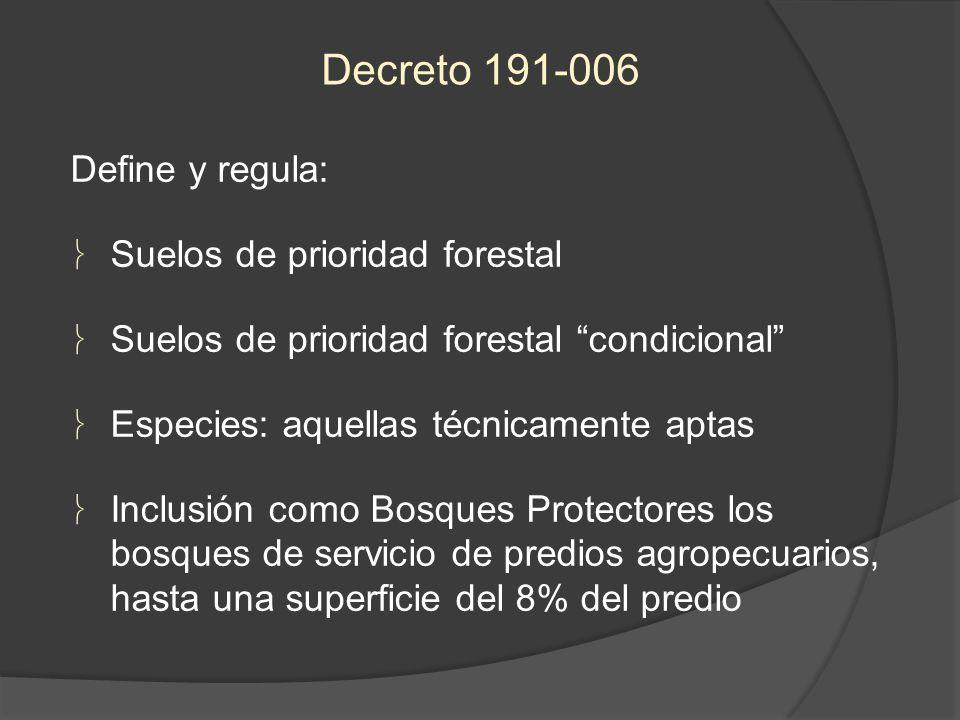 Decreto 191-006 Define y regula: Suelos de prioridad forestal